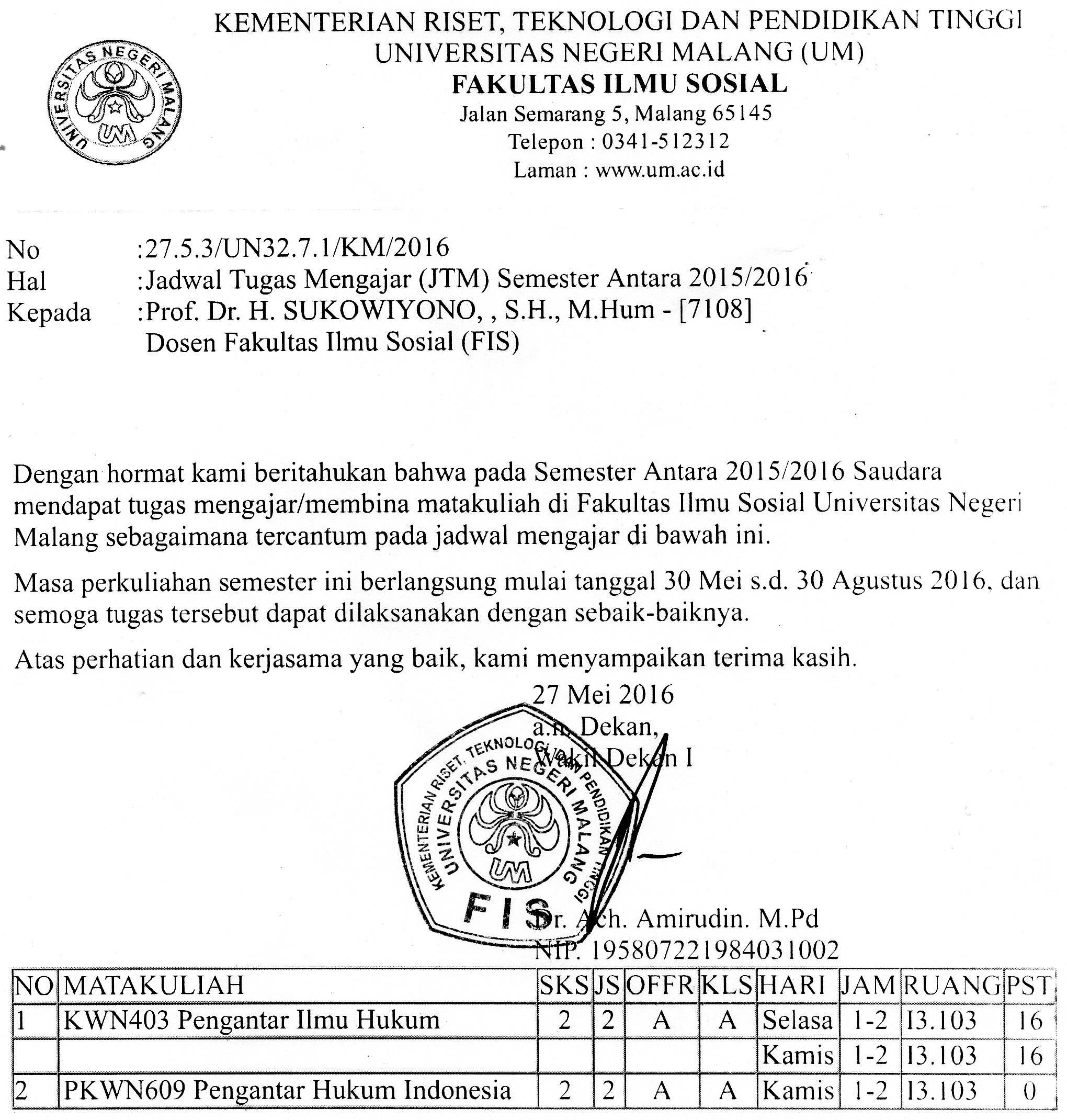 Jadwal Semester Antara 2015/2016