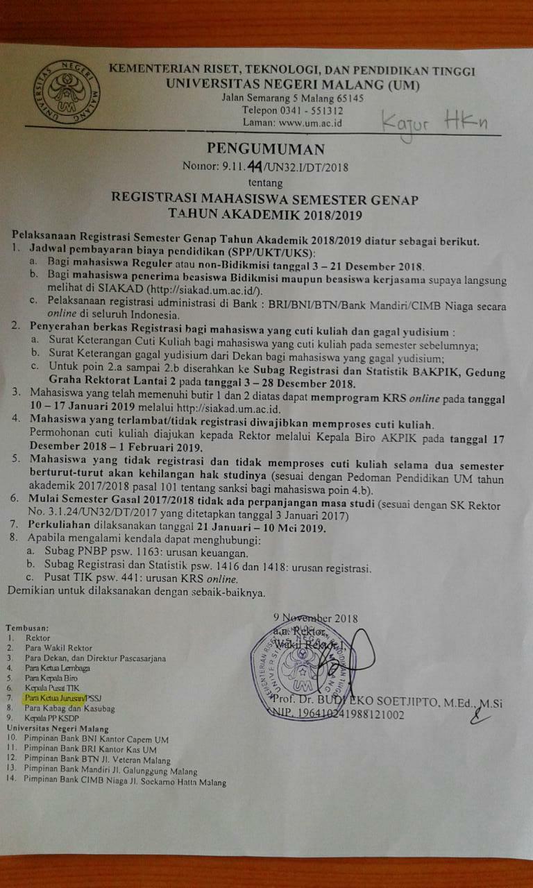Pengumuman Registrasi Semester Genap 2018-2019